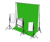 3 head 750w continuous softbox kit with chroma key backdrop & boom arm kit