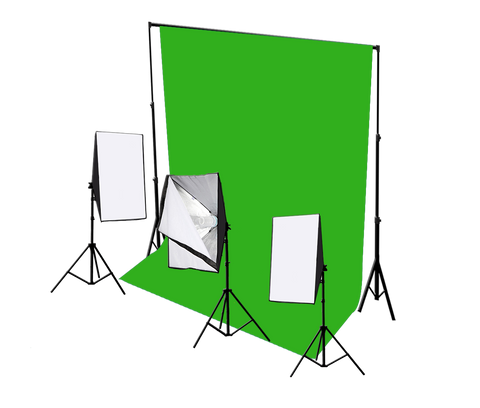 3 head 750w continuous softbox kit with chroma key backdrop