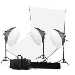 3 Head Powerful 5 Lamp Video Lighting Kit Equipment With Backdrop And Support System