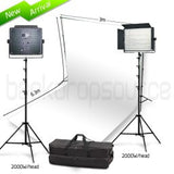 2 Head 2000W Bicolour LED Professional Video Light Kit With Backdrop And Support System