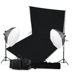 2 Head Powerful 5 Lamp Octagonal Softbox Light Equipment with Backdrop & Support System Kit