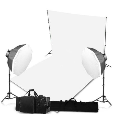 2 Head Powerful 5 Lamp Video Light Kit Equipment With Backdrop & Support System