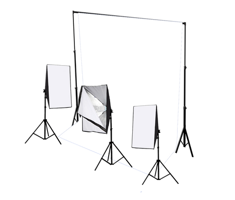 Three Head 750W Continuous Softbox Kit with Studio Backdrop