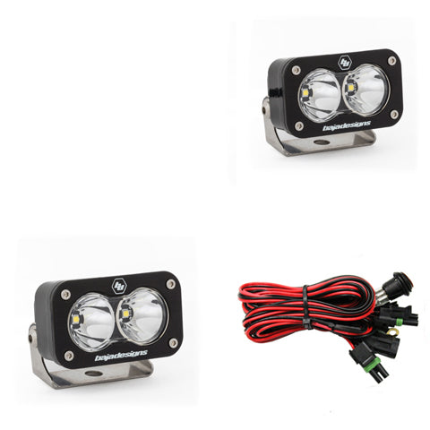 Polaris LED Light Pods 1.75 Inch Harness Vertical Mounts Kit Squadron Sport Baja Designs