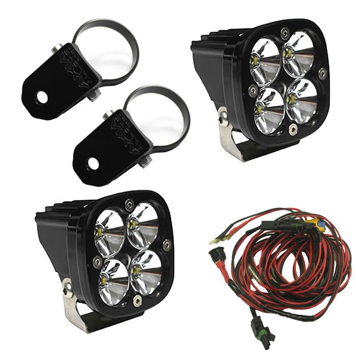 Flush Mount LED Light Pod Black Amber Lens Wide Cornering Pattern Squadron Sport Baja Designs