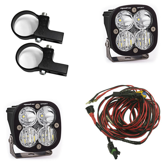Polaris LED Light Pods 2 Inch Harness Horizontal Mounts Kit Squadron Sport Baja Designs
