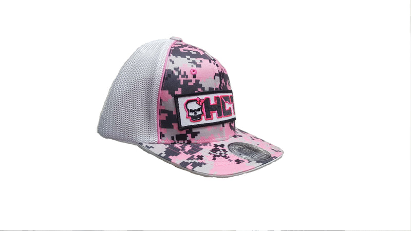 HCT Hat Womens (curved bill/mesh/flex fit) Digital Pink Camo