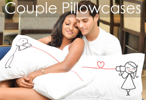 Matching His and Hers Couple Pillowcases