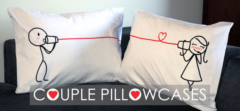 BoldLoft His & Hers Matching Couple Pillowcases