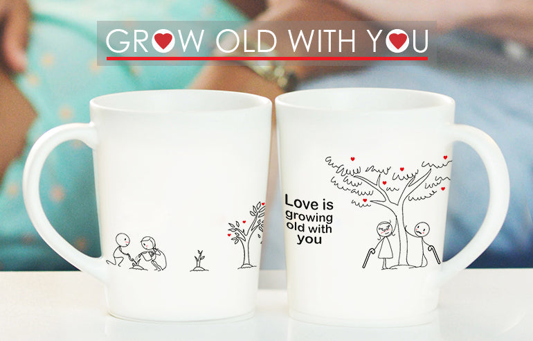 Grow Old With You Anniversary Mugs for Couples