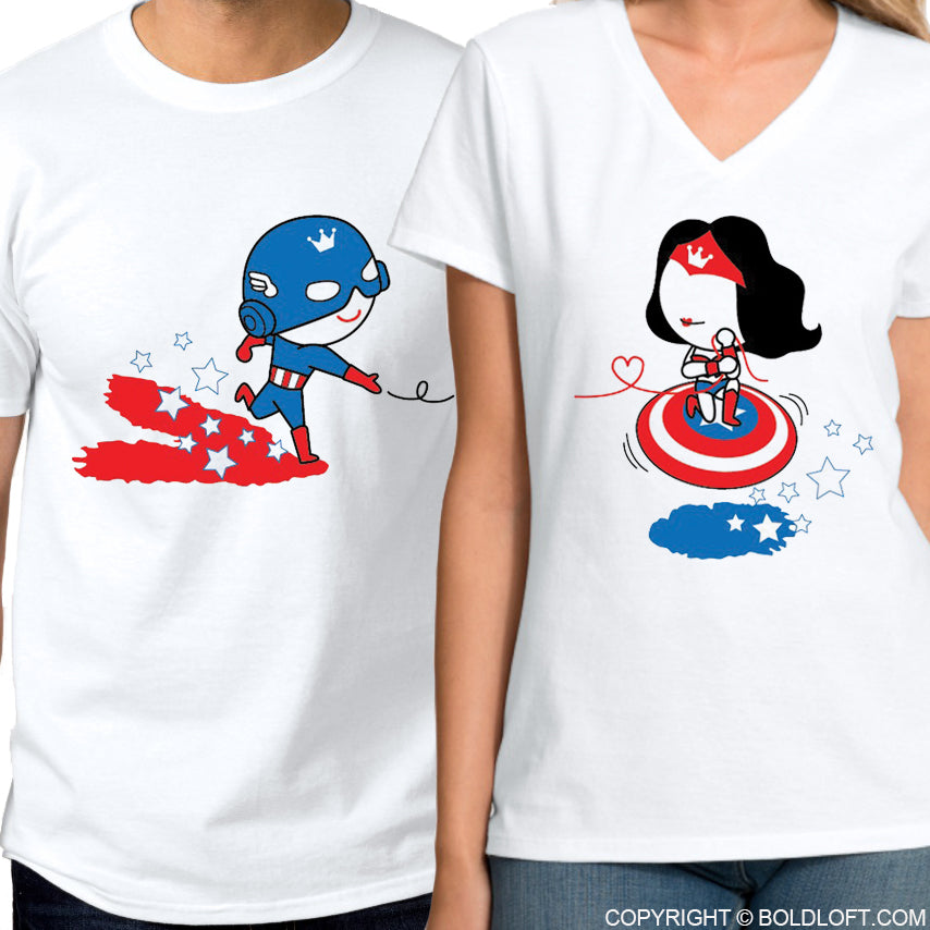 All I Want is You™ His & Hers Matching Couple Shirt Set Captain America shirt Wonder Woman shirt