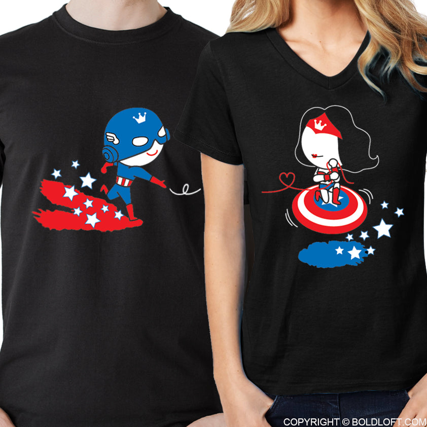 BoldLoft All I Want is You™ His & Hers Matching Couple Shirt Set Black Captain America shirt Wonder woman shirt