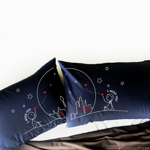 Miss Us Together™ Couples Pillowcasest (Dark Blue)