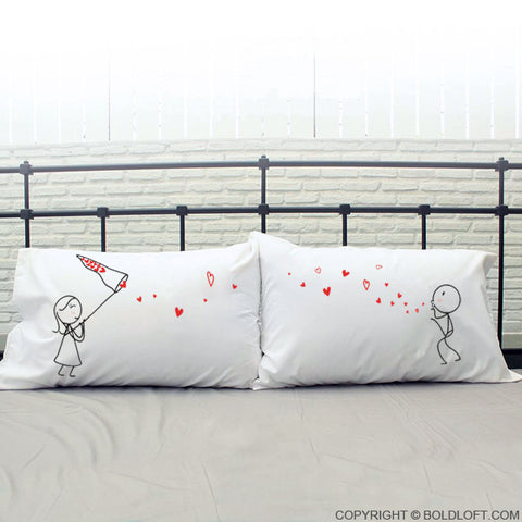 BoldLoft Catch My Love Too His and Hers Couple Pillow Cases