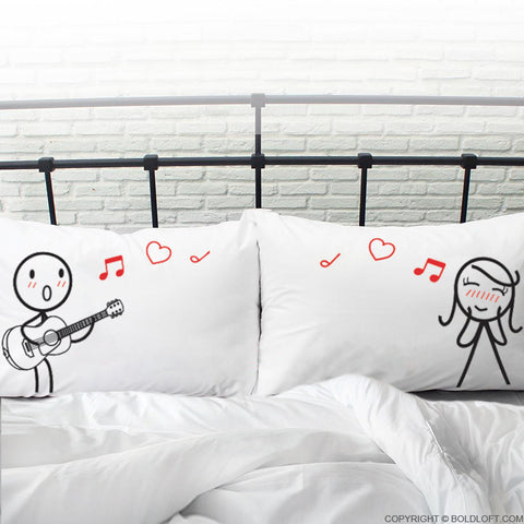boldloft couples Pillowcase Set his hers gifts guitar lovers music lover gifts