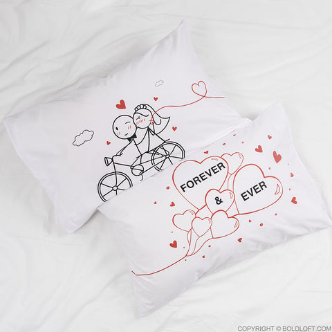 Wedding Gifts for Bride & Groom-Forever & Ever Couple Pillow Cases