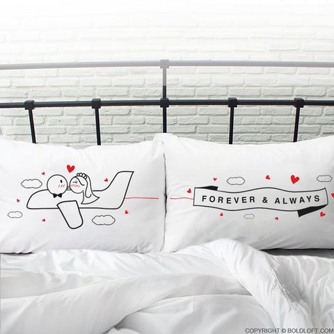 Newlywed Gifts-BoldLoft Forever & Always™ Bride & Groom Pillowcases