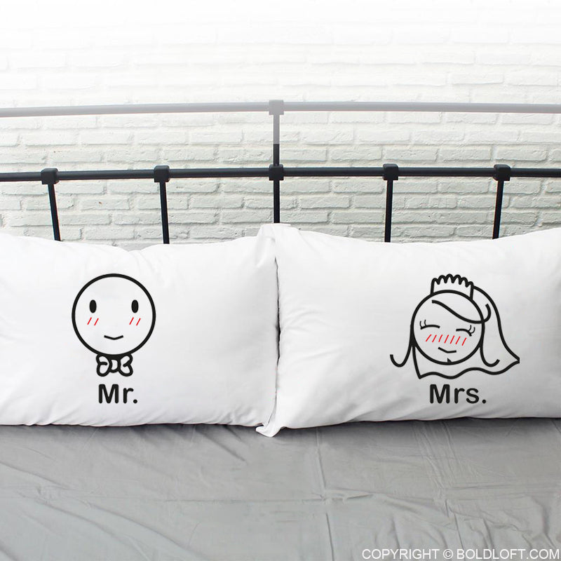 A Perfect Match™ Mr & Mrs Bride & Groom Couple Pillowcases