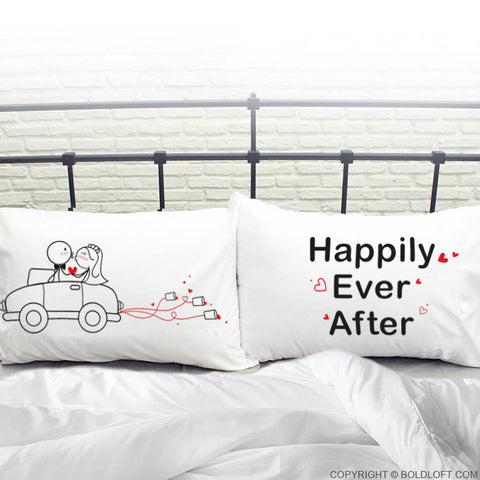 Wedding Gifts for Bride & Groom-BoldLoft Happily Ever After Couple Pillowcases