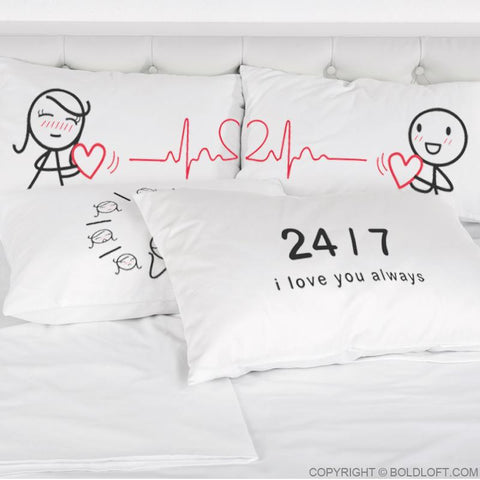 Love You with Every Beat of My Heart ™ Couple Pillowcases