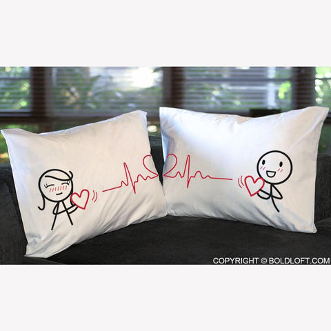 Love You with Every Beat of My Heart ™ Couple Pillow Cases