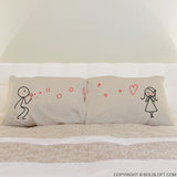 His and Hers Pillowcases-BoldLoft From My Heart to Yours in Khaki
