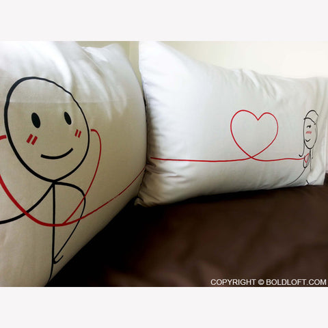boldloft my heart beats for you pillowcases his and hers