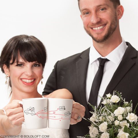 Wedding Gifts for Bride & Groom-BoldLoft Happily Ever After His & Hers Coffee Mugs