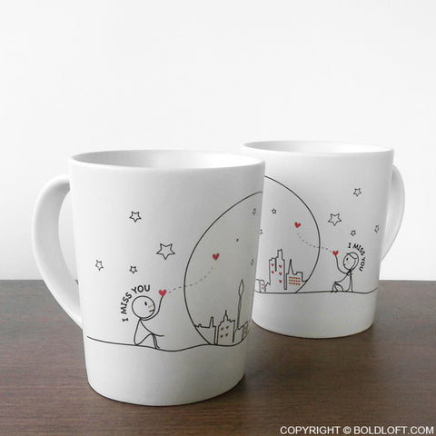 Valentines Gift for Long Distance Couples Miss Us Together His and Hers Coffee Mugs