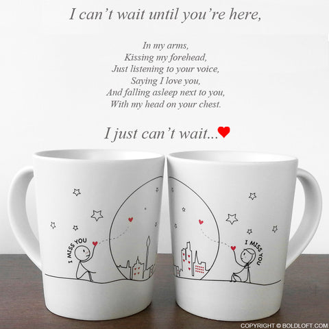 Valentines Gift for Long Distance Girlfriend Miss Us Together Couple Coffee Mugs