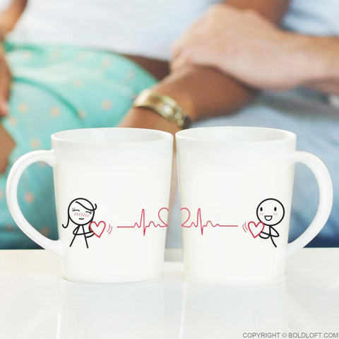 Love You with Every Beat of My Heart™ Couple Mugs