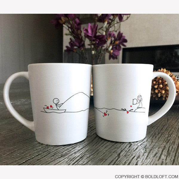 Unique His And Her Coffee Mugs, Catch My Heart Couple