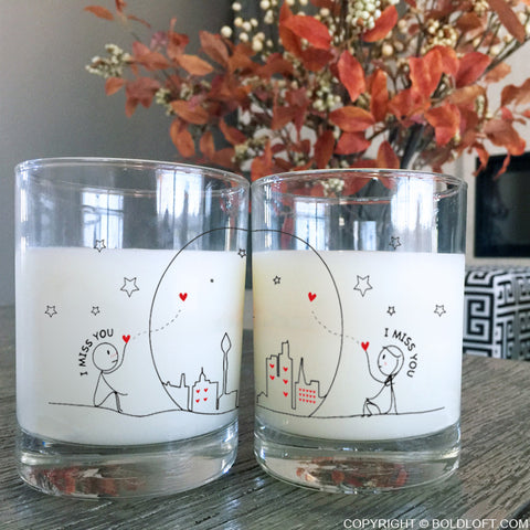 Miss Us Together™ Couple Drinking Glasses
