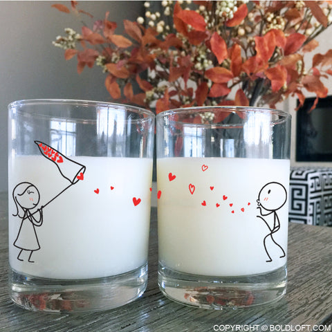 Catch My Love Too™ Couple Drinking Glasses