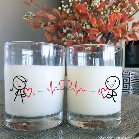 Love You with Every Beat of My Heart™ Couple Drinking Glasses