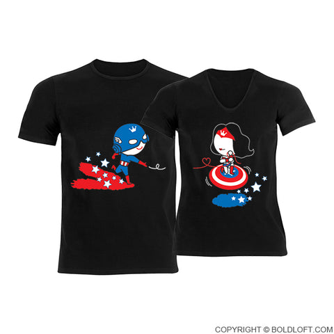His and hers shirts Captain America gifts Wonder Woman gifts for couples