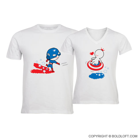 56e994d1e0 All I Want is You™ His & Hers Matching Couple Shirts-Captain America ...