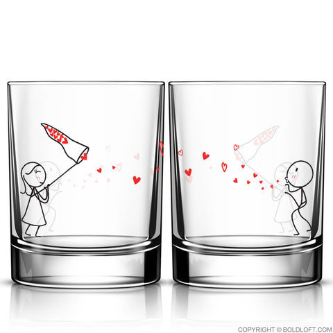Catch My Love Too™ Couple Drinking Glass Set