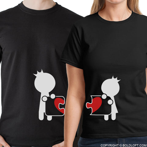 Complete My Heart™ His & Hers Matching Couple Shirt Set Black