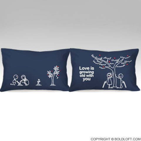 Grow Old with You™ Couple Pillowcases (Dark Blue)