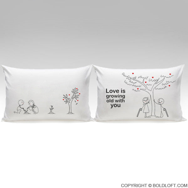 Boldloft Grow Old With You Couple Pillowcases Love
