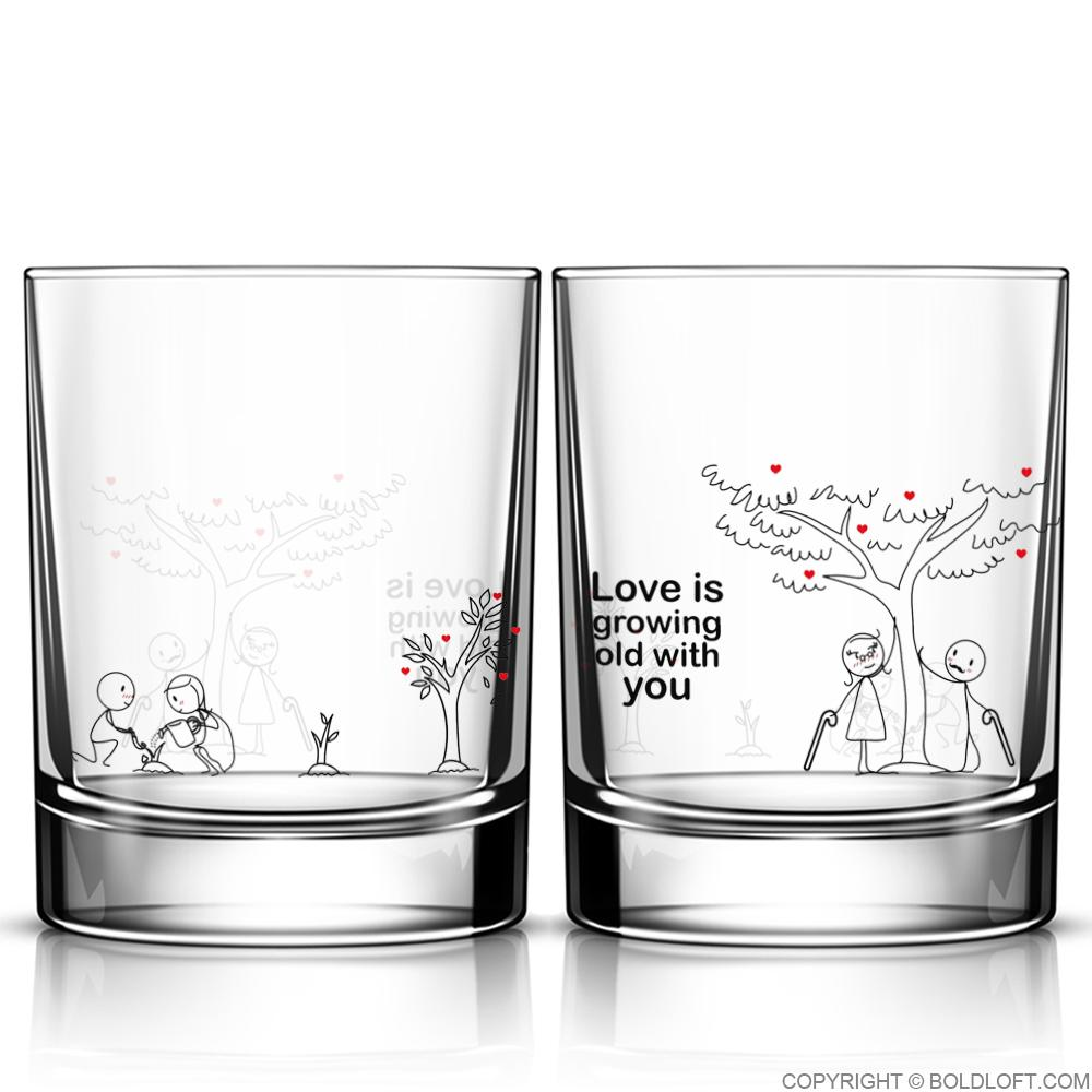 Grow Old with You™ Couple Drinking Glass Set