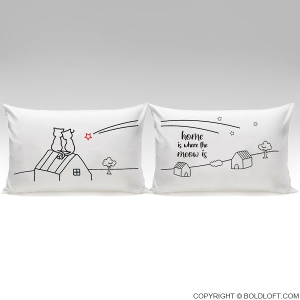 Home is Where The Meow is™ Cat Couple Pillowcase Set