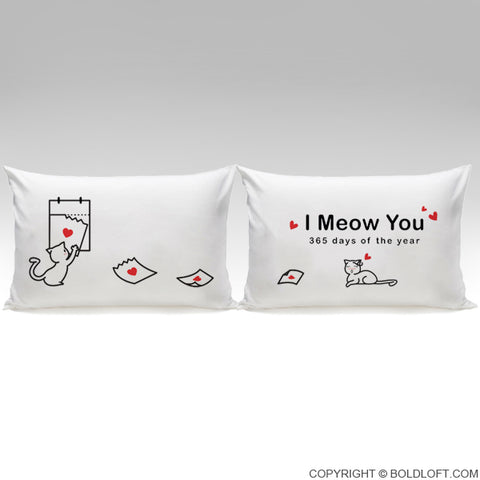 boldloft i meow you cat pillowcases for couples cat themed gift for her cat lovers gifts