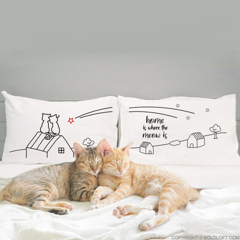 Home is Where The Meow is™ Cat Couple Pillowcases