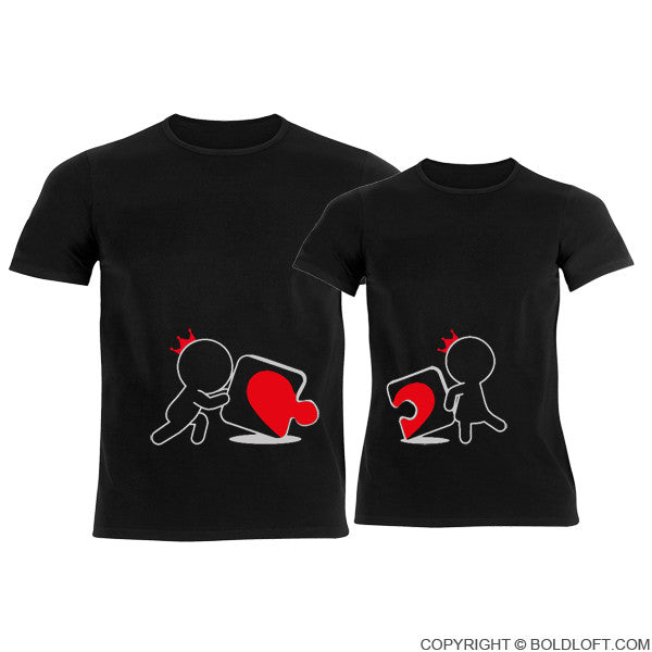 Incomplete Without You His Amp Hers Couple T Shirts Black