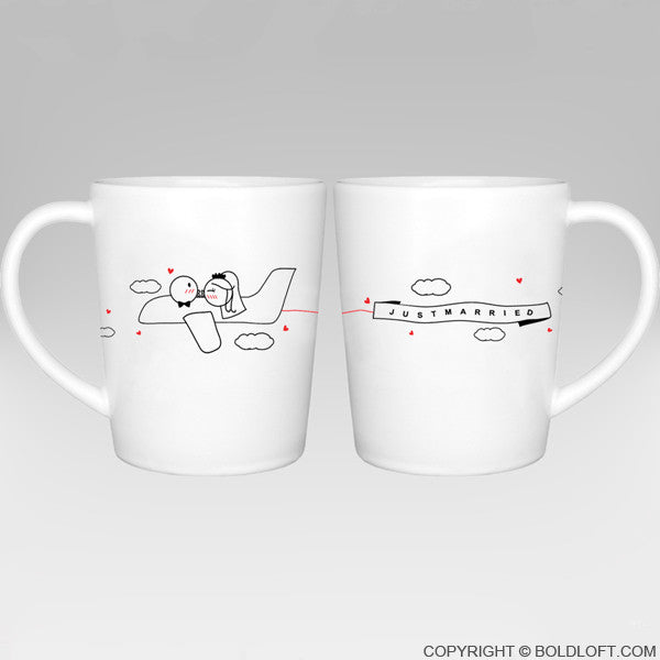 Wedding Gifts-BoldLoft Just Married™ Bride & Groom Coffee Mugs
