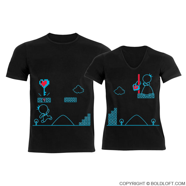 Key To My Heart™ Couple T-Shirts Black
