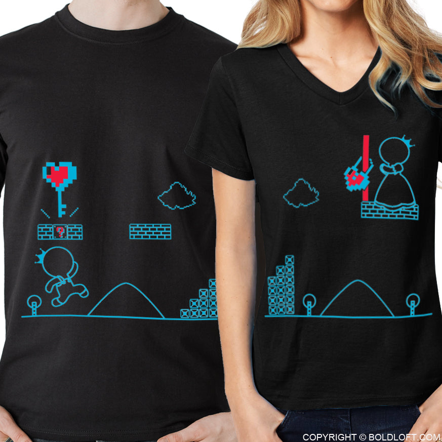Key To My Heart™ His & Hers Matching Couple Shirt Set Black