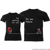 Love is on the Way™ Couple T-Shirts Black
